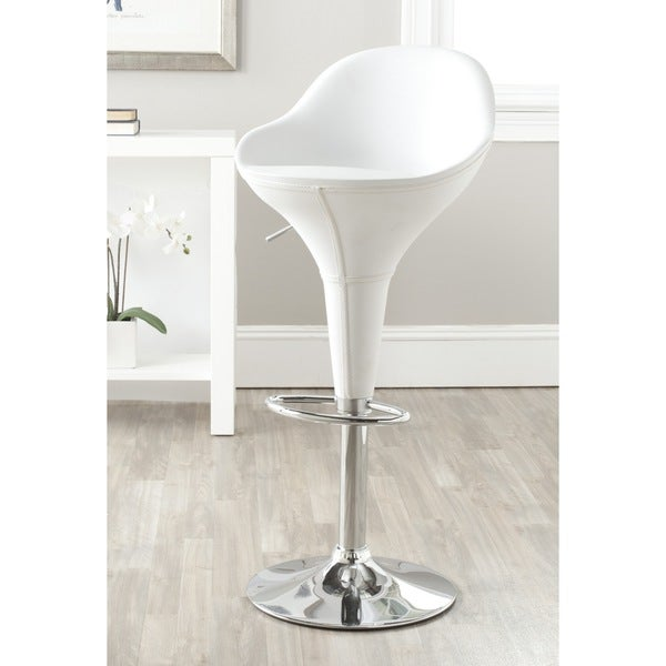Safavieh Reptone White Adjustable Height Swivel 23.8-32.3-inch Adjustable Bar Stool