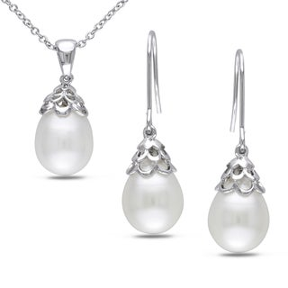 Miadora Silvertone Freshwater Pearl 2-piece Jewelry Set (9-10 mm)