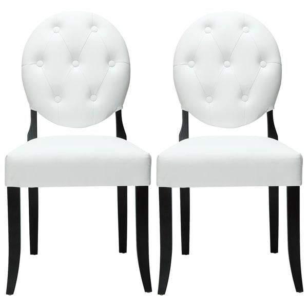 Modway Button White Vinyl Black Leg Chairs (Set of 2)