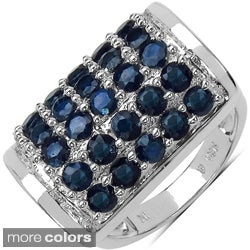 Marcel Drucker Sterling Silver High-Polish Gemstone and Diamond Accent Ring