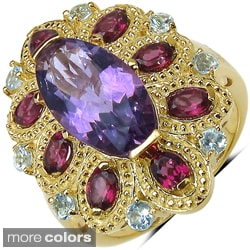 Marcel Drucker Sterling Silver/Gold over Silver Gemstone and Diamond Accent Ring