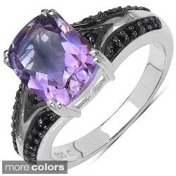 Marcel Drucker Sterling Silver Cushion/Round-Cut Gemstone and Diamond Accent Ring