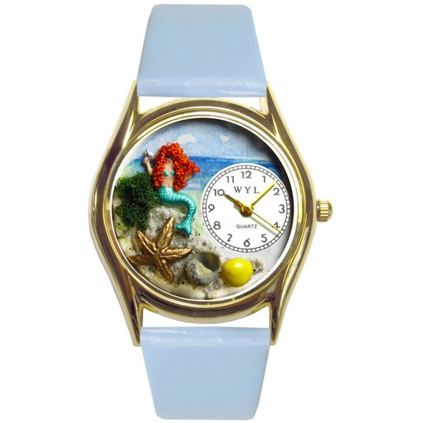 Mermaid Baby Blue Leather Watch