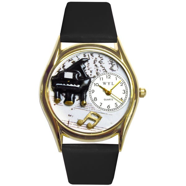 Music Piano Black Leather Watch