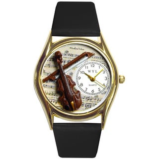 Violin Black Leather Watch