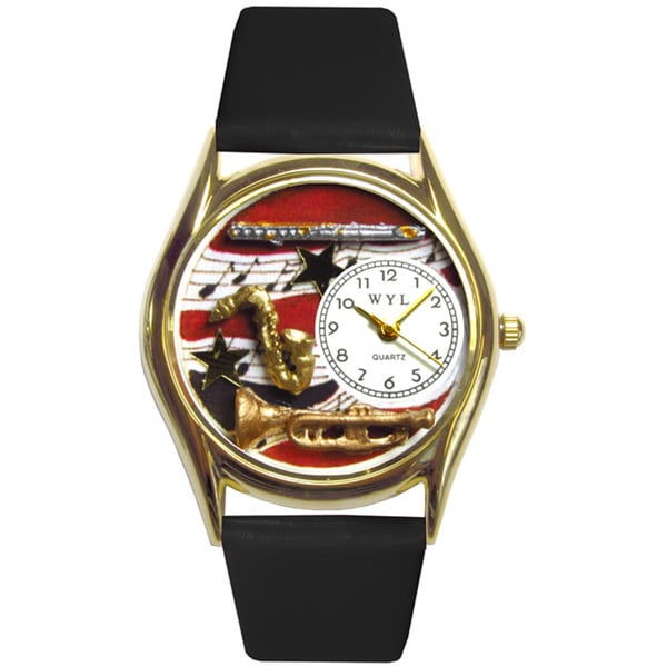 Wind Instruments Black Leather Watch