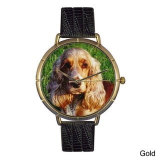 Whimsical Women's Cocker Spaniel Photo Leather Strap Watch