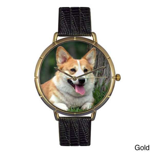 Whimsical Women's Corgi Photo Leather Strap Watch