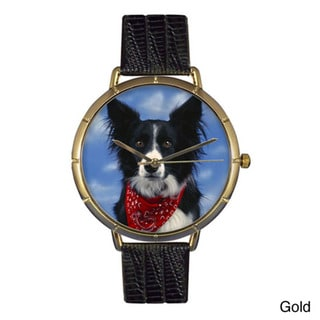 Whimsical Women's Border Collie Photo Leather Strap Watch