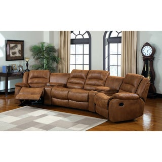 Furniture of America Mayoli Leather-like Caramel Sectional Set with Duo Recliners