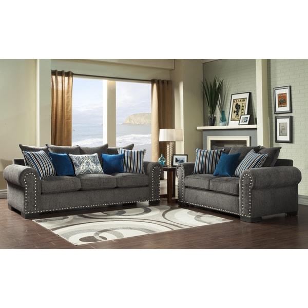 Furniture of America Ivy Grey Blue Modern 2-Piece Sofa-Love Set