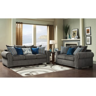 Furniture of America Ivy Grey Blue Modern 2-Piece Sofa-Love Set