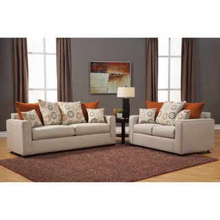 Furniture of America Dasher Contemporary Fabric 2-Piece Beige Sofa-Love Set