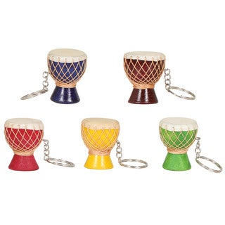 Set of 5 Djembe Drum Keychains (Indonesia)