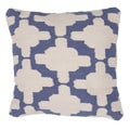 Contemporary Ivory/ Blue Cotton Square Pillow