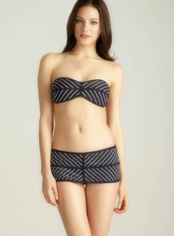 Red Carter Pinstripe Bandeau Top