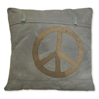 Cottage Home Peace Sign Recycled Canvas Decorative Euro Throw Pillow