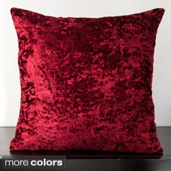 Hazel Solid Velveteen Down Filled or Poly Filled 18-inch Decorative Pillow
