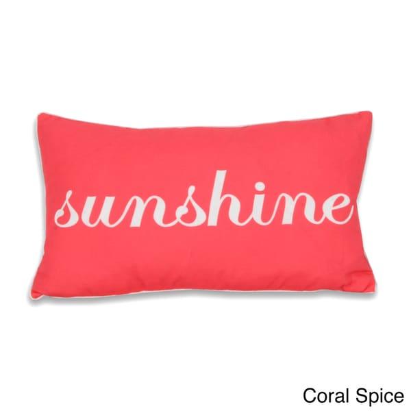 Thro Sunshine Script Printed Words 20-inch Decorative Pillow