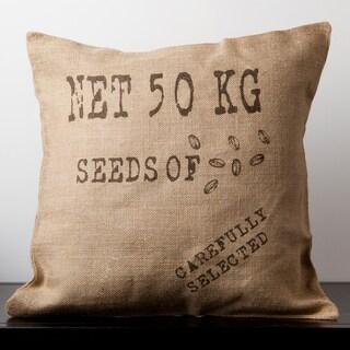 Abigail Natural Burlap Novelty 18-inch Decorative Pillow