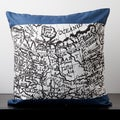 Samantha White/ Blue Novelty Map 18-inch Decorative Pillow