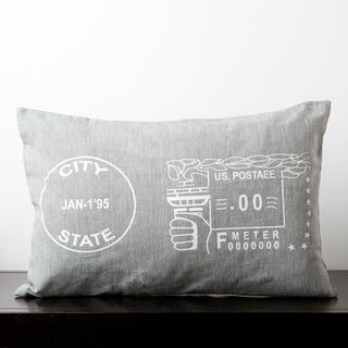 Natalie Flint Grey Novelty 20-inch Stamp Decorative Pillow