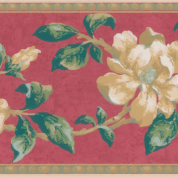 Red Peony Border Wallpaper