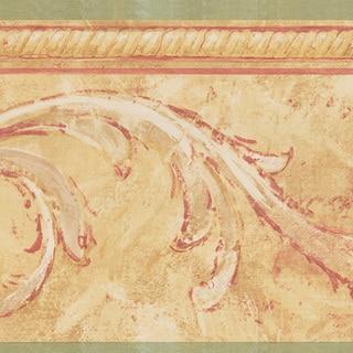 Olive Scroll Border Wallpaper