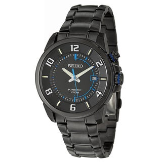 Seiko Men's 'Kinetic' Black Stainless Steel Watch