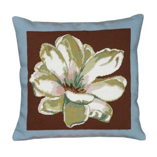 Magnolia-Brown Blue Needlepoint 20-inch Decorative Pillow