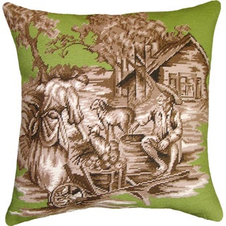 Green and Brown Country Toile Needlepoint 20-inch Decorative Pillow