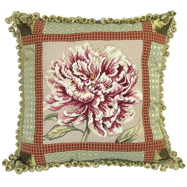 Peony Needlepoint Decorative Pillow