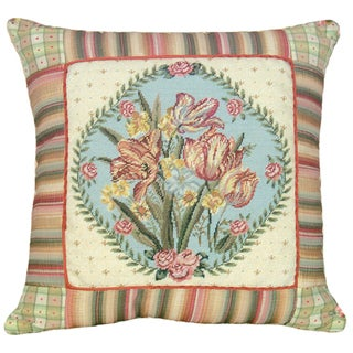 Tulips Petit-Point Decorative Throw Pillow