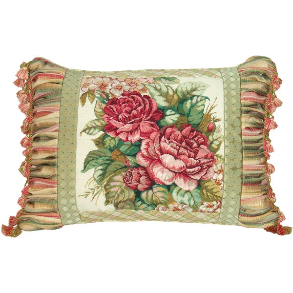 Spring Rose Needlepoint Decorative Throw Pillow - 15256842 - Overstock.com Shopping - Great ...
