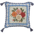 Porcelain Dahlia Petit-Point Decorative Throw Pillow