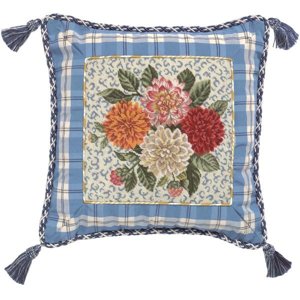 Porcelain Dahlia Petit-Point Decorative Throw Pillow