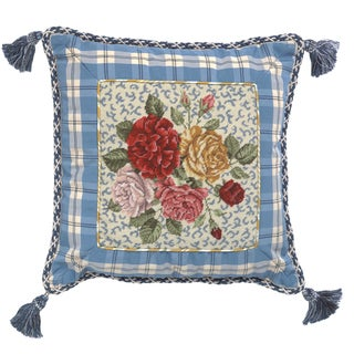 Porcelain Rose Petit-Point Decorative Throw Pillow