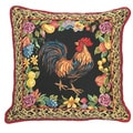 Rooster with Leopard Needlepoint Decorative Throw Pillow