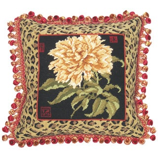 Peony with Leopard Needlepoint Decorative Throw Pillow
