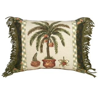 Palm Tree Needlepoint Decorative Throw Pillow
