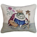 Frog Needlepoint Decorative Throw Pillow