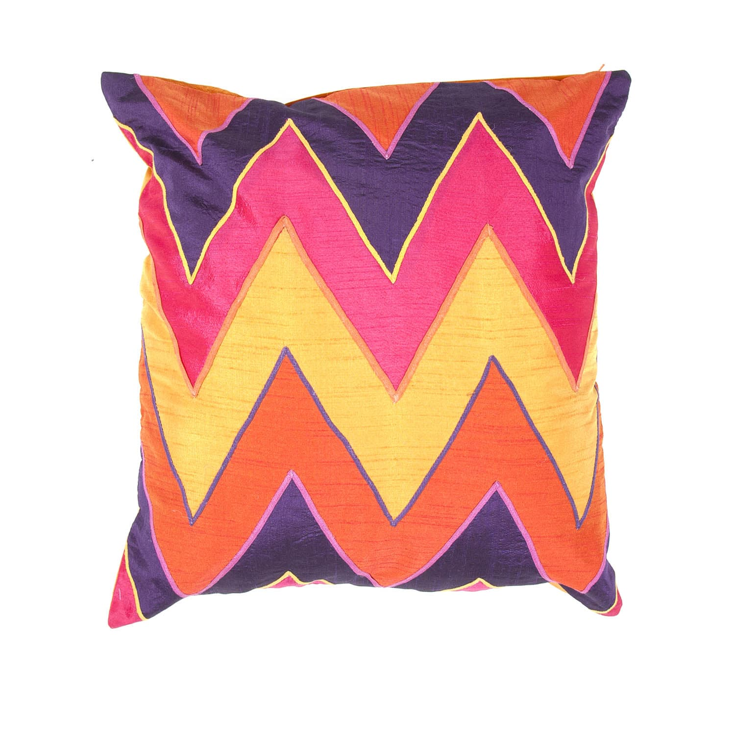 Contemporary Bright Multicolor Chevron Square Pillow
