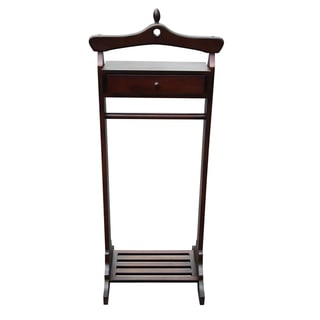 D-Art Mahogany Finish Royal Valet Coat Hanger Rack Stand