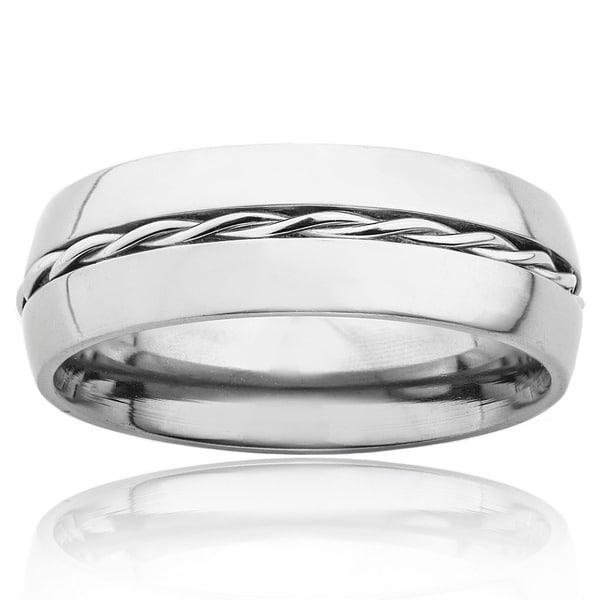 Titanium Rope Twist Inlay Center Ring