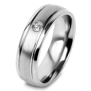 Titanium Cubic Zirconia Brushed Center and Polished Edge Ring