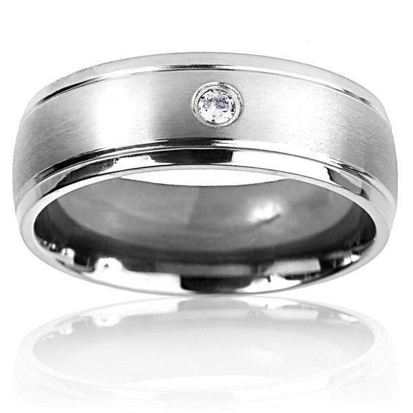 Men's Titanium Cubic Zirconia Dual Finish Ring