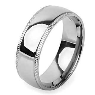 Men's Titanium Grooved Edge Dome Center Ring