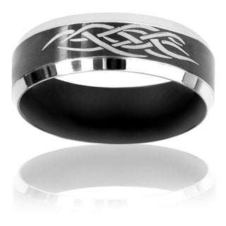 Black-plated Stainless Steel Tribal Inlay Ring