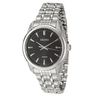 Seiko Men's Stainless-Steel Black Dial Japanese Quartz Watch
