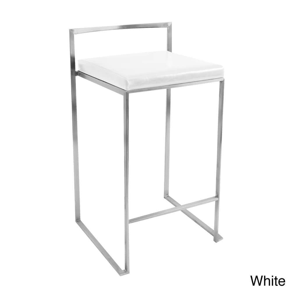Stainless Steel Stools Kitchen: Modern Counter Stool SET OF 2 Stainless Steel White Bar